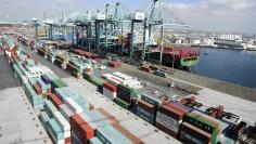 Cargo containers are ready for transportation at the Port of Los Angeles