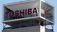 Logo of Toshiba Corp is seen at its headquarters in Tokyo