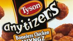 FILE PHOTO: Tyson Foods brand frozen chicken wings are pictured in a grocery store freezer in the Manhattan borough of New York City, U.S. May 11, 2017.   REUTERS/Carlo Allegri/File Photo