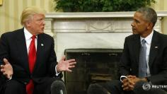 U.S. President Barack Obama meets with President-elect Donald Trump (L) in the Oval Office of the White House in Washington November 10, 2016.REUTERS/Kevin Lamarque