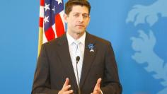 Ryan, speaker of the U.S. house of Representatives, attends a news conference after a meeting with Estonia's Prime Minister Ratas in Tallinn