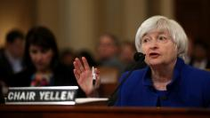 FILE PHOTO - Federal Reserve Chair Janet Yellen testifies on the U.S. economic outlook, before the Congressional Joint Economic Committee on Capitol Hill, in Washington, D.C., U.S., November 29, 2017. REUTERS/Carlos Barria