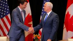 Canadian Prime Minister Trudeau and United States Vice President Pence meet on the sidelines of the National Governors Association summer meeting in Providence
