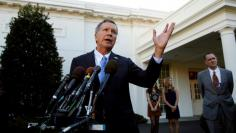 FILE PHOTO: Former candidate Governor John Kasich speaks at the White House in Washington