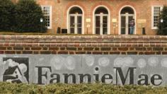 A woman toting an umbrella passes Fannie Mae headquarters in Washington February 21, 2014.  REUTERS/Kevin Lamarque