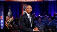 U.S. President Barack Obama speaks as he attends a comedy show celebrating Military Appreciation Month as well as the 5th anniversary of Joining Forces and the 75th anniversary of the USO at Joint Base Andrews in Clinton, Maryland, U.S. May 5, 2016. REUTE