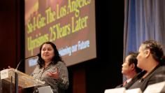 Moderator Devon Carbado speaks during a panel discussion about the 25th anniversary of 1992 Los Angeles Riots at UCLA in Los Angeles