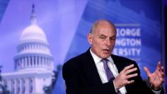 """Secretary of Homeland Security John Kelly speaks at an event entitled """"Home and Away: Threats to America and the DHS Response"""" at George Washington University"""