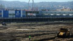 Construction on the area around the port of entry from Mexico to the United States continues next to the border wall in San Ysidro, California
