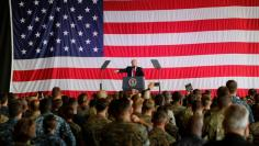 FILE PHOTO: U.S. President Donald Trump delivers remarks to U.S. military personnel at Naval Air Station Sigonella following the G7 Summit, in Sigonella, Sicily, Italy, May 27, 2017. REUTERS/Darrin Zammit Lupi