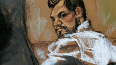 Atilla, a deputy general manager of Halkbank, is shown in this court room sketch with his attorney DiChiara as he appears before Judge Francis IV in Manhattan federal court in New York
