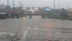 The Acadian Thruway is covered in floodwaters in this handout picture from the Louisiana Department of Transportation and Development taken in Baton Rouge
