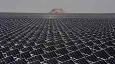 Solar panels are seen in Yinchuan