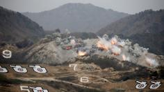 Explosions are seen at target during U.S.-South Korea joint live-fire military exercise at training field near the DMZ in Pocheon