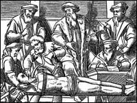 Image of a woodcut depicting waterboarding included in J. Damhoudère's Praxis Rerum Criminalium, Antwerp, 1556.